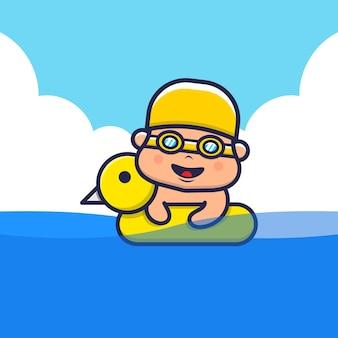 Nette kinder mit schwimmringkarikaturillustration