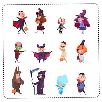 Nette kinder tragen die eingestellten monster-kostüme, halloween-parteifeier-konzept