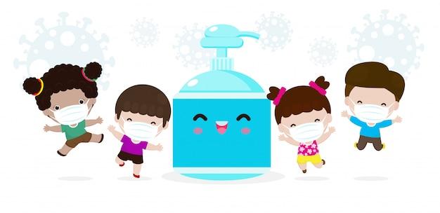 Nette kinder und alkoholgel, kinder und schutz gegen viren und bakterien, gesundes lebensstilkonzept lokalisiert auf weißer hintergrundvektorillustration