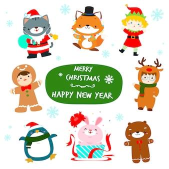 Nette kinder und tier in der weihnachtscharakterdesignvektorillustration.