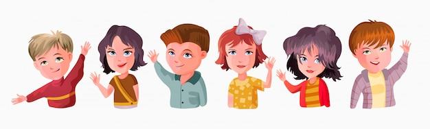 Nette kinder winken hände illustration. lächelnde kleine kinder in freizeitkleidung grußgeste. fröhliche grundschüler, kindergartenschüler zeichentrickfiguren hi