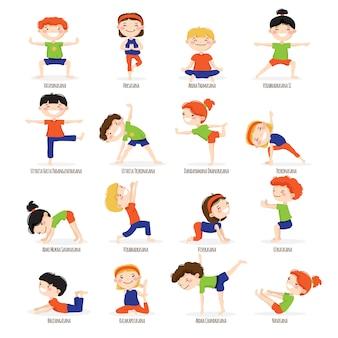 Nette kinderjungen und -mädchen in den spitzenyogaasanas werfen karikaturikonen-sammlungssatz auf