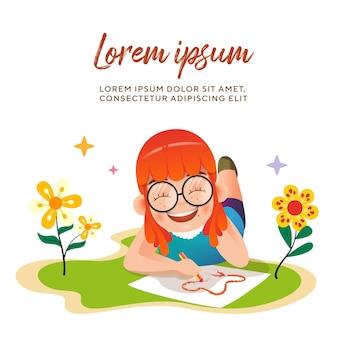 Nette kindermädchen zeichnen im blumengarten-charakter-illustrations-premium-vektor