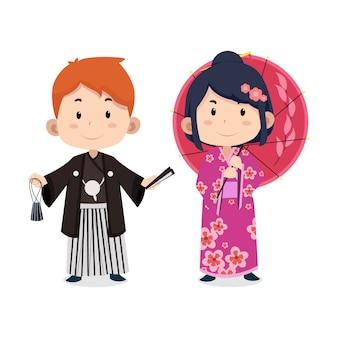 Nette kinderzeichen japanisch