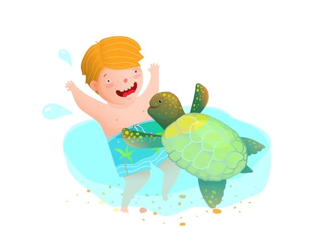 Nette kindheitsszene, in der ein kind und ein schildkrötenfreund spielen. karikaturartkindergarten oder schwimmender schnorchelurlaubs-cartoon.
