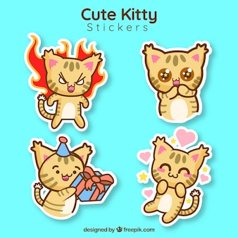 Nette kitty-aufkleber-sammlung