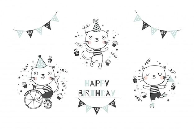 Nette kitty katze baby charaktere sammlung. alles gute zum geburtstag symbole gesetzt. hand gezeichnete karikaturtiere entwerfen illustration.