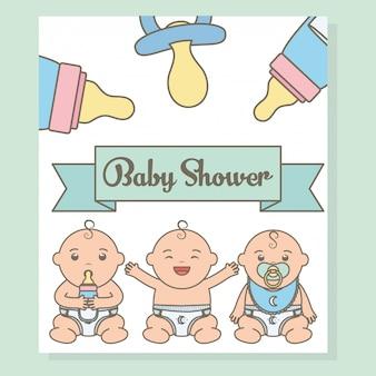 Nette kleine babyjungen mit flaschenmilchcharakteren
