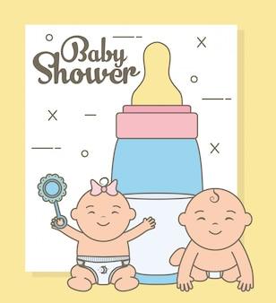 Nette kleine babys mit flaschenmilchcharakteren