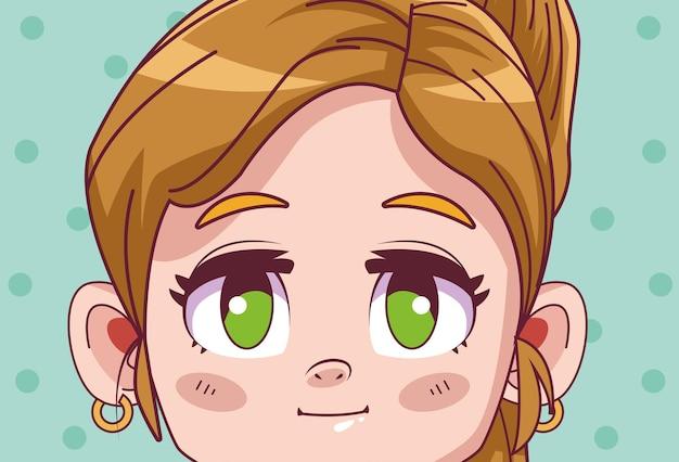 Nette kleine blonde mädchen comic manga charakter illustration
