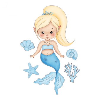 Nette kleine cartoon blonde meerjungfrau mit einem blauen schwanz auf einem weißen hintergrund