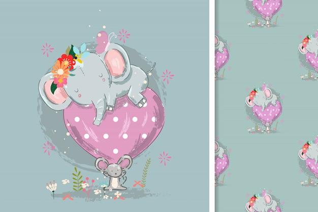 Nette kleine elefantkarte und nahtloses muster