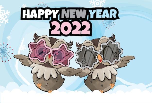 Nette kleine eule guten rutsch ins neue jahr 2022 auf der schneeillustration illustration des hintergrundes
