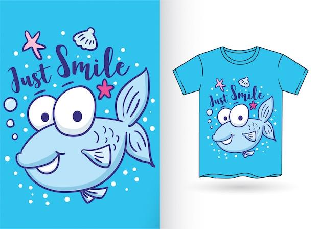 Nette kleine fischhand gezeichnet für t-shirt