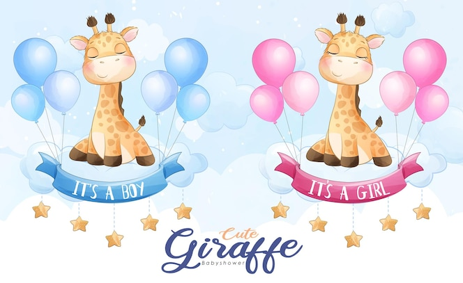 Nette kleine giraffe, die mit ballonaquarellillustration fliegt