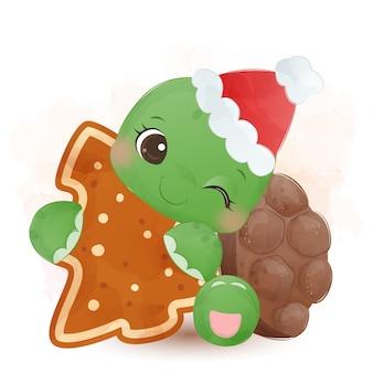 Nette kleine grüne schildkröte, die lebkuchen umarmt und weihnachtsmütze trägt