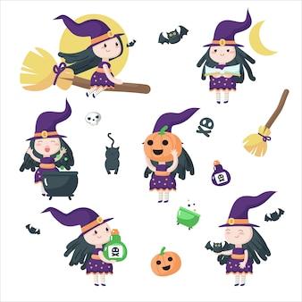 Nette kleine halloweenhexen isolierte illustration