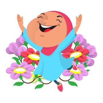 Nette kleine hijab-mädchen-zeichentrickfigur glücklich und tanzend am blumengarten