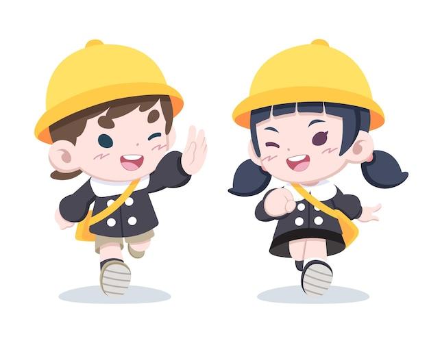 Nette kleine japanische kinder in der kindergartenuniform grüßen einander karikaturillustration