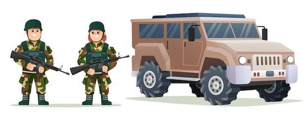 Nette kleine jungen- und mädchenarmeesoldaten, die waffengewehre mit militärfahrzeugillustration halten