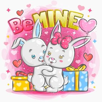 Nette kleine kaninchen-paare, die in der liebe an der valentinstagillustration glauben