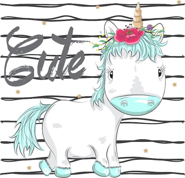 Nette kleine karikatur unicornhand gezeichnet