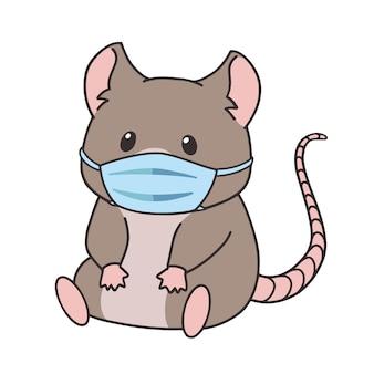 Nette kleine karikaturmaus, die medizinische maske trägt.