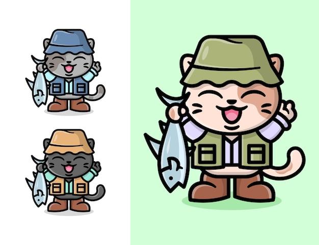 Nette kleine katze, die fischereinrüstung trägt und eine grosse fischkarton-illustration mitbringt