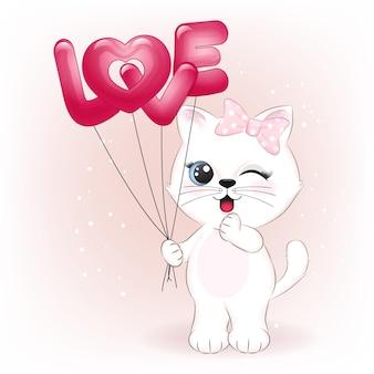 Nette kleine katze, die liebesballon-valentinstagkonzeptillustration hält