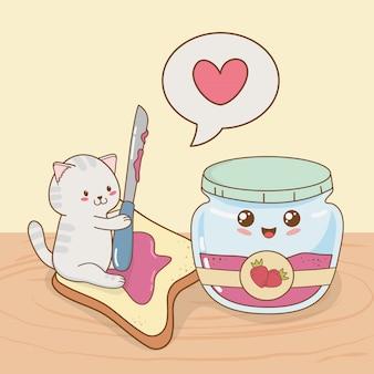 Nette kleine katze mit erdbeermarmeladetopf kawaii charakter
