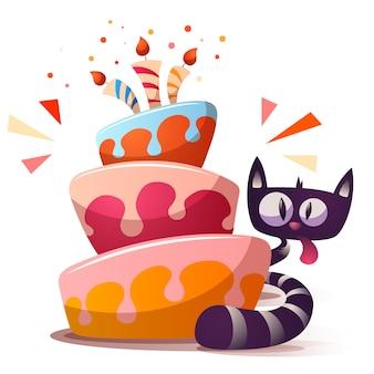 Nette kleine katze mit kuchen