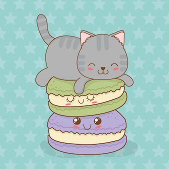 Nette kleine katze mit süßem donut kawaii charakter