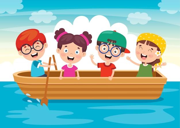 Nette kleine kinder auf dem boot