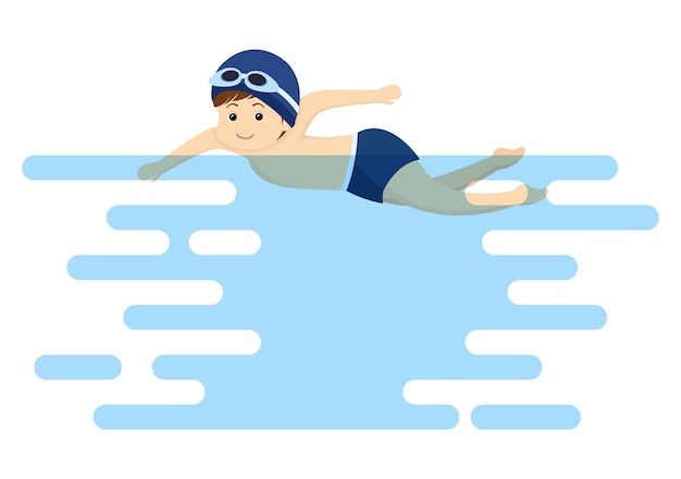 Nette kleine kinder, die hintergrund-vektor-illustration im flachen karikatur-stil schwimmen. menschen tragen badebekleidung, schwimmen im sommer und führen wasseraktivitäten durch