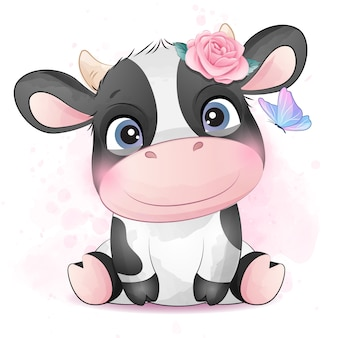 Nette kleine kuh mit aquarellillustration