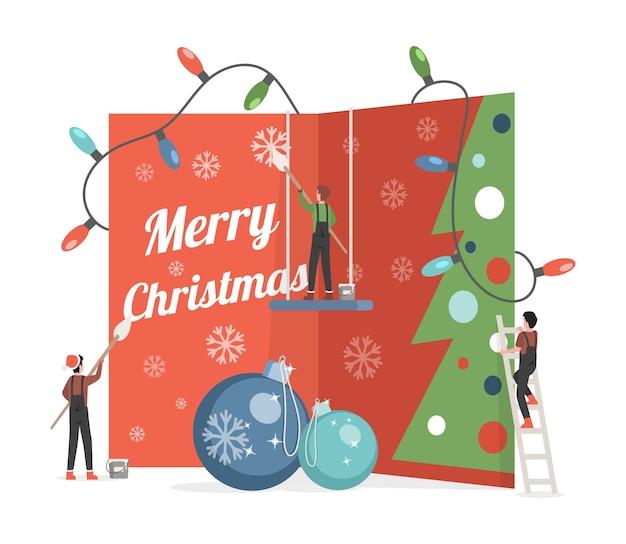 Nette kleine leute, die große einladungskarte mit frohe-weihnachten-wortillustration malen und verzieren.