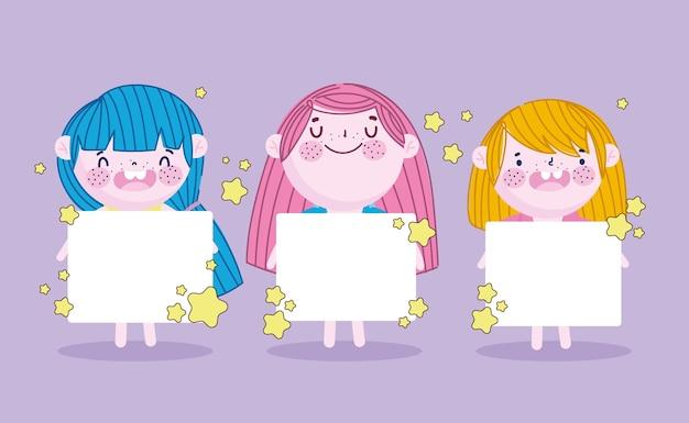 Nette kleine mädchen mit leerem fahnenkarikatur, kinderillustration