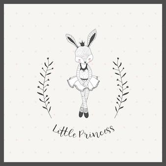 Nette kleine mädchenkaninchen-ballerinakarikaturhand gezeichnet
