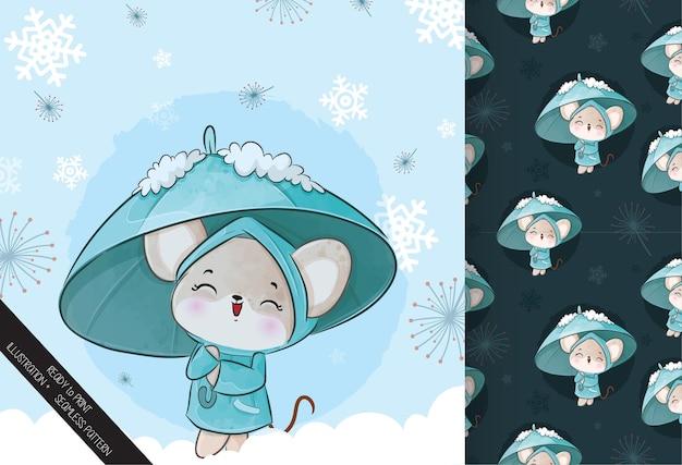 Nette kleine maus mit regenschirm auf der schneeillustration - illustration des hintergrundes