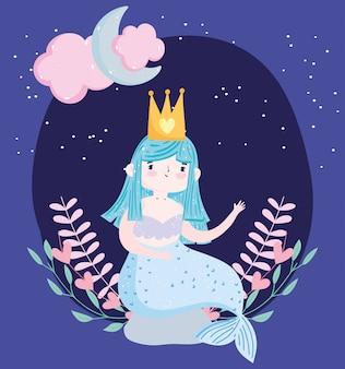 Nette kleine meerjungfrau, die auf felsen mit laubmondwolkenkarikatur sitzt