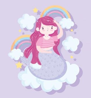 Nette kleine meerjungfrau, die auf wolke mit regenbogensterndekorationskarikatur sitzt