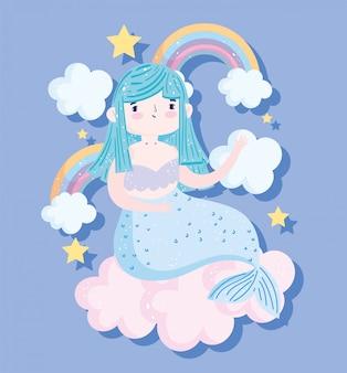Nette kleine meerjungfrau, die auf wolkenregenbogen und sternenkarikatur sitzt