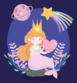 Nette kleine meerjungfrau mit rosa schwanz, die auf felsen mit sternplanetenphantasietraumkarikatur sitzt