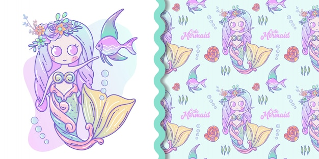 Nette kleine meerjungfrau- und meeresflora und -fauna-karikatur mit nahtlosem mustersatz