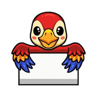 Nette kleine papageienkarikatur mit leerem zeichen