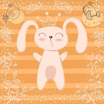 Nette kleine prinzessin - kaninchenkarikatur