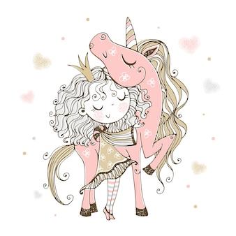 Nette kleine prinzessin mit einem rosa einhorn.