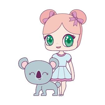 Nette kleine puppe mit koalatier