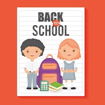 Nette kleine studenten mit versorgungen im notizbuchblatt