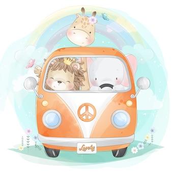 Nette kleine tiere, die ein auto fahren